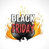 Black Friday banner template. Vector cartoon style web black Friday banner template design with  black balloons and fire Stock Photo