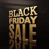 Black Friday-Banner van de Verkoop de Gouden Inschrijving Stock Foto