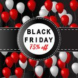 Black Friday banner. Vector illustration with balloon.  on low poly background Royalty Free Stock Photography