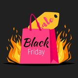 Black friday banner. Vector style web black friday banner template design with colorful shopping bags and sale label in fire  on black background Stock Image