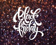 Black Friday banner vector template with glitter effect stock illustration