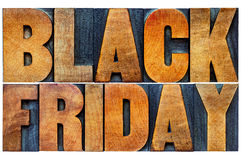 Black Friday banner in wood type. Black Friday is the day following Thanksgiving Day in the United States, often regarded as the beginning of the Christmas Royalty Free Stock Photos