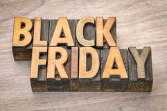 Black Friday banner in wood type Stock Photos