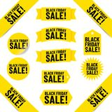 "Black Friday banners and tags. Text ""black friday sale !"" in black uppercase letters inscribed on various shapes and sizes of yellow tags and banners, white Stock Images"