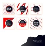Black Friday banners, templates for social media post promotion. Backgrounds with text space, abstract elements, purple royalty free illustration