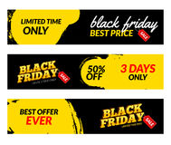Black friday banners. Vector Sale web market design template. Black friday offer discount concept.  Royalty Free Stock Photo