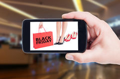 Black Friday begrepp för kvinnaskor Fotografering för Bildbyråer