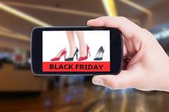 Black Friday begrepp för kvinnaskor för hög häl Royaltyfria Foton