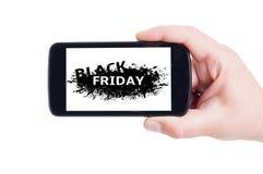 Black Friday begrepp på mobiltelefonen Royaltyfria Foton