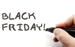 Black Friday being handwritten Royalty Free Stock Photo