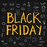Black Friday-Beschriftung Lizenzfreie Stockfotos