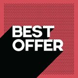 Black friday best offer sale poster banner template with long shadow retro typography text and polka dot background. Royalty Free Stock Images