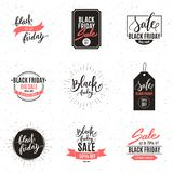 Black friday big sale advertisement set of banners, calligraphic Royalty Free Illustration