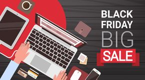 Black Friday Big Sale Banner Design With Man Hands Typing On Laptop Computer Above View Royalty Free Stock Images