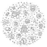 Black Friday Big Sale concept illustration. Shopping malls, retail - outline web icon collection, vector, thin line icons collection Royalty Free Stock Photo