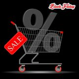 Black Friday Big Sale Concept. A Supermarket Trolley with royalty free illustration