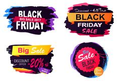 Black Friday Big Sale Stickers Vector Illustration. Black Friday big sale 2017, discount -45 off, collection of stickers with text placed in rectangles and Stock Photo