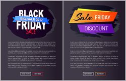 Black Friday Big Sale 2017 Promo Web Posters Info Stock Image