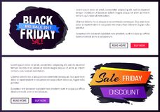 Black Friday Big Sale 2017 Promo Web Posters Info. Black Friday big sale 2017 promo web posters with advertising information about discounts on painted stroke in Royalty Free Stock Photo