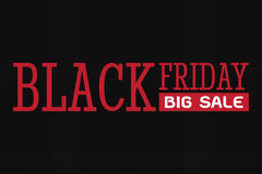 Black friday big sale, red wording on black background Royalty Free Stock Photo