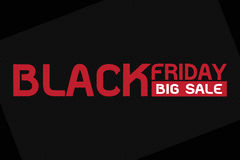 Black friday big sale, red wording on black background Stock Image