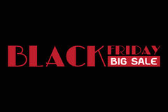 Black friday big sale, red wording on black background Royalty Free Stock Photos