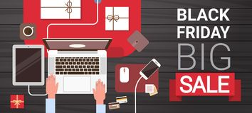Black Friday Big Sale Sign Over Hand Typing On Laptop Computer Above View Holiday Discount Banner Concept Royalty Free Stock Photography