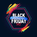 Black Friday Big Sale 2017 Text in Hexagon Frame Royalty Free Stock Images