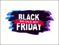 Black Friday Big Sale 2017 Vector Illustration. Black Friday big sale 2017, badge made up of title, additional text on pink ribbon, dark background vector Royalty Free Stock Images