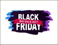 Black Friday Big Sale 2017 Vector Illustration. Black Friday big sale 2017, badge made up of title, additional text on pink ribbon, dark background vector Vector Illustration