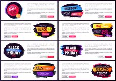 Black Friday Big Sale 2017 Vector Illustration. Black Friday big sale 2017, only today -35 , internet sites made up of additional text, headlines and buttons Stock Photos