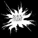 Black Friday, Big Sale, white ink splach. Black Friday, Big Sale, vector white ink splach on black royalty free illustration