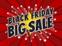 Black Friday Big Sale, wording in comic speech bubble on burst b Royalty Free Stock Photography