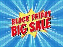 Black Friday Big Sale, wording in comic speech bubble on burst b. Ackground, EPS10 Vector Illustration Stock Photos