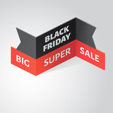 Black friday big super sale banner. Isometric vector illustration. Black friday big super sale banner. Black realistic 3d ribbon. Isometric vector illustration Stock Photo