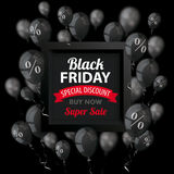 Black Friday Black Balloons Frame Percents Cover. Black balloons with percents and frame for black friday on the dark background Royalty Free Stock Images
