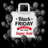 Black Friday Black Balloons Percents Shopping Bag. Black balloons with percents and shopping bag for black friday on the dark background Stock Image