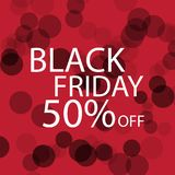 Black Friday Black dots on red background. Stock Image