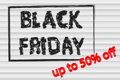 Black Friday in black frame, sale banner, up to 50% off,the text. Is written with a brush,striped background, signboard, poster, billboard Royalty Free Stock Photography