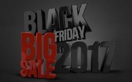 Black friday. 2017 black friday big sale 3d render Royalty Free Stock Image