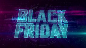 Black Friday. Glowing hologram intro on dynamic digital background. Modern and futuristic 3D introduction for sale promotion. Loopable and seamless 4K animation stock illustration