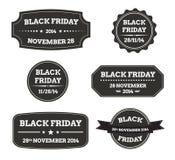 Black friday black labels. Set of black friday black labels vector illustration isolated Stock Images