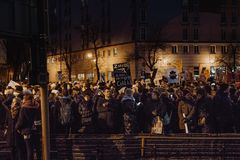 Black Friday - Black Protest, Poland. Protest against the tightening of the abortion law. March 23, 2018. Warsaw, Poland Stock Image