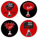 Black friday black and red set of round icons. With speech bubbles and chemical bottles. Magic sale concept. Vector illustration in flat style Royalty Free Stock Images