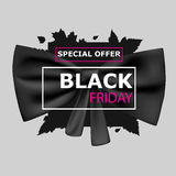 Black Friday with black ribbon Royalty Free Stock Photography
