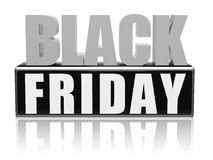 Black friday in black white banner - letters and block Royalty Free Stock Image