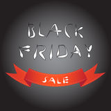 Black friday blur background with red curve ribbon Stock Photography