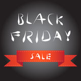 Black friday blur background with simple red ribbon Stock Photo