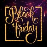 Black Friday bokstäver med skinande blänker textur Royaltyfri Bild