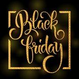 Black Friday bokstäver med skinande blänker textur Arkivfoton